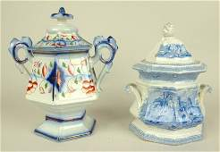 Gaudy Welsh sugar 8 12 and blue transfer ware