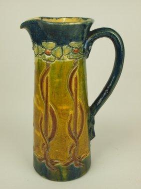 """Art Pottery Art Nouveau Tankard, 12"""""""