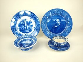 Wedgwood Flow Blue Abraham Lincoln Plate, Royal Doulton