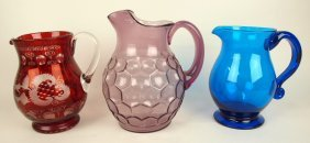 Lot Of 3 Water Pitchers: Bohemian Red Cut To Clear,