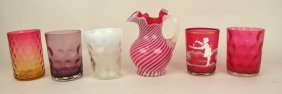 Lot Of 5 Art Glass Water Tumblers And Cranberry