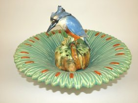 Weller Art Pottery Ardsley Center Bowl And King Fisher