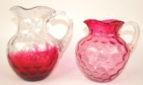 "Rubina 8 1/2 Thumbprint Water Pitcher And 7"" Cranberry"
