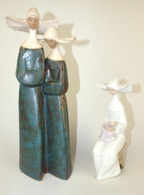 "Lladro Pair Of Nuns 13"" And 8"" (repair)"