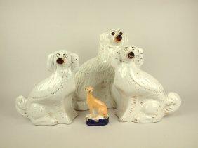 "Stafforshire Lot Of 4 Dog Figures: 1-13"", 2-10 1/2"","