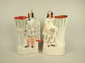 "Staffordshire Pair Of Figures, 14"" Various Conditions"