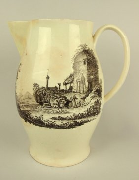 """Staffordshire Large Pitcher With Scenes, 13 1/2"""", Spout"""