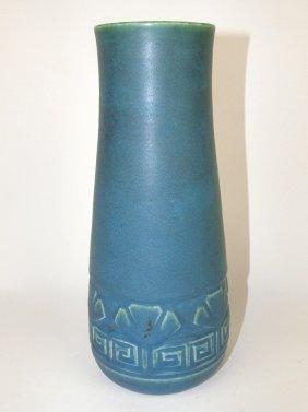 Rookwood Art Pottery Matte Blue Vase With Embossed Leaf