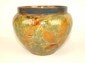 """Doulton Lambeth Jardiniere With Leaves And Ferns, 9"""" D,"""