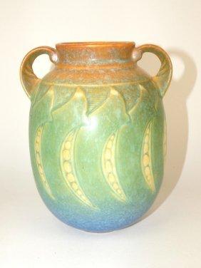 """Roseville Falline Two Handled Vase, 7 1/4"""""""