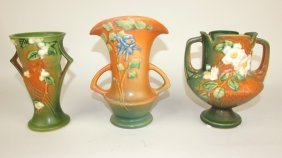 "Roseville Lot Of 3 Pieces: Green Snowberry Vase 1v-6"","