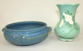 Weller Blue Art Pottery Bowl And Green Floral Vase