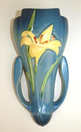 """Roseville Blue Zephyr Lily Wall Pocket #1297-8"""""""