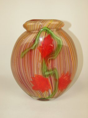 """Heavy Art Glass Layered Vase With Flowers, 10"""""""