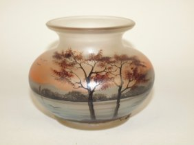 """Legras Style Painted 3 3/4"""" Vase With Lake Scene"""