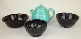 Bauer Pottery Turquoise Teapot & 3 Black Bowl