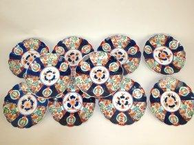 "Imari Set Of 10-8 1/2"" Plates"