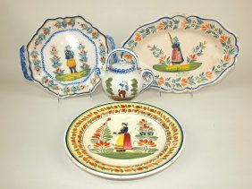 Quimper Lot Of 2 Trays, Plate, & Teapot, Some Wear