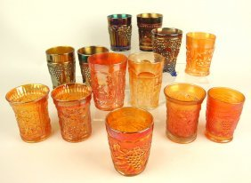 Lot Of 13 Carnival Glass Tumblers: Northwood Fenton &