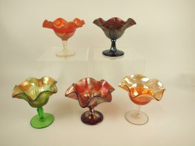 Carnival Glass Lot Of 5 Compotes