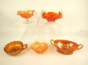 Carnival Glass Lot Of 5 Nappies