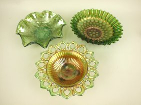 Carnival Glass Imperial Lustre 3 Bowls, Green