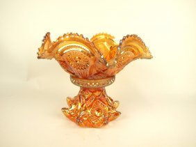 """Carnival Glass Punch Bowl And Base, 12"""" D, 10"""" H"""