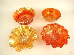 Carnival Glass Marigold Lot Of 4 Bowls