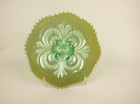 """Imperial Green Carnival Glass Scroll Embossed 9"""" Plate"""