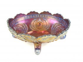 Cobalt Carnival Glass Large Oval Berry Bowl, 10""