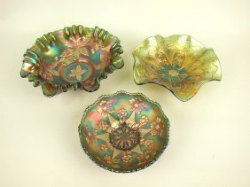 Carnival Glass Lot Of 3 Green Bowls