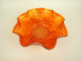 """Fenton Marigold Water Lily Carnival Glass Bowl, 9 1/2"""""""