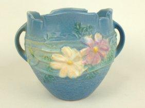"Roseville Blue Cosmos Jardiniere, 649-4"""