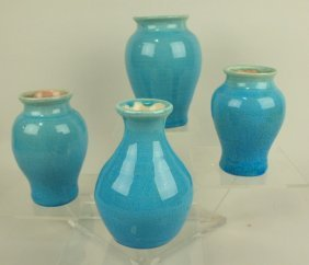 Pisgah Forest Lot Of 4 Blue Vases