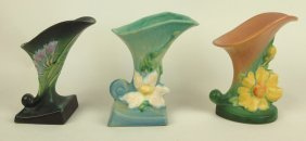 Roseville Lot Of 3 Cornucopia Vases: Green Freesia