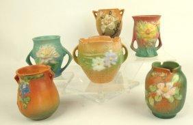 """Roseville Lot Of 6: 4"""" Vases"""