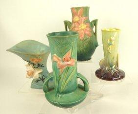 """Roseville Lot Of 4 Vases: Green Clematis 108-8"""", Blue"""