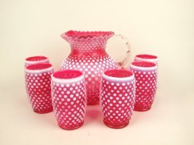 Cranberry Opalescent Hobnail 7 Piece Water Set With