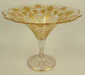 Moser Monumental Compote With Gold Decorated Grape