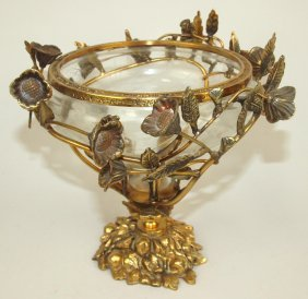 Cut Glass Baccarat Type Bowl/compote In Brass Floral