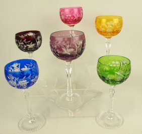 Bohemian Set Of 6 Wine Goblets, Each A Different Color