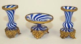 Venetian Art Glass Miniature 3 Piece Garniture Set With
