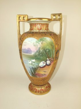 Nippon Monumental Porcelain Vase With White Ducks In