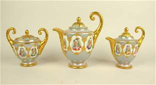 Dresden 3 piece teaset decorated with ladies in oval