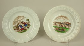 Staffordshire Pair Of Abc Plates, 8 1/2""