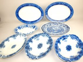 Flow Blue And Staffordashire Lot Of 7 Platters, Various