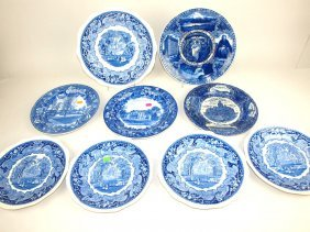Staffordshire Blue & White Lot Of 9 Plates, Various