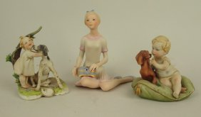 "Cybis Bisque Figure Of Girl With Jewel Box 4 3/4"" And"