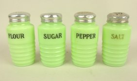 Jadeite Shaker Set: Flour, Sugar, Salt & Pepper