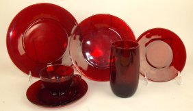 Depression Glass Red Royal Ruby Set Of 77 Pieces: 6